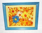 Vintage Yellow Turquoise Blue Orange & White Cross Stitch Daisy Picture
