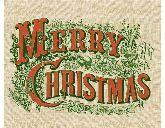 Currier & Ives Merry Christmas Red Green Instant Digital download image for Paper Iron on fabric transfer Burlap pillow tote Cards No. 309