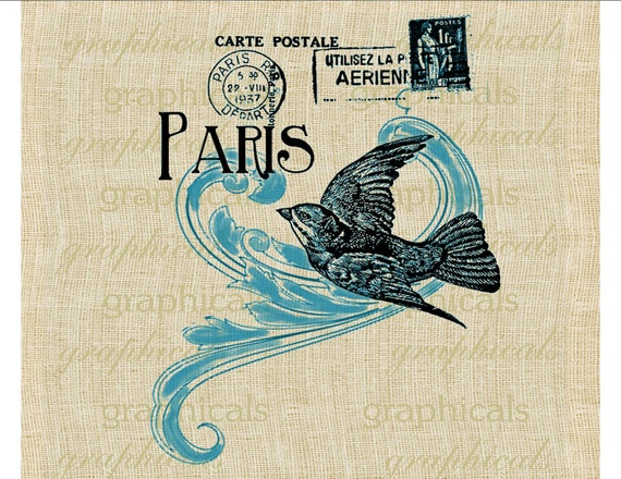 Blue bird French ephemera instant digital download image for iron on transfer to fabric burlap papercraft decoupage pillow tote bags No. 336