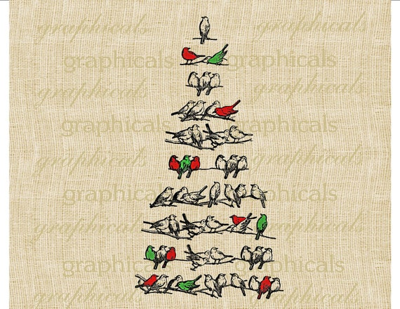 Christmas tree branch red green birds instant digital download image transfer for iron on fabric paper burlap tote decoupage pillow No 217