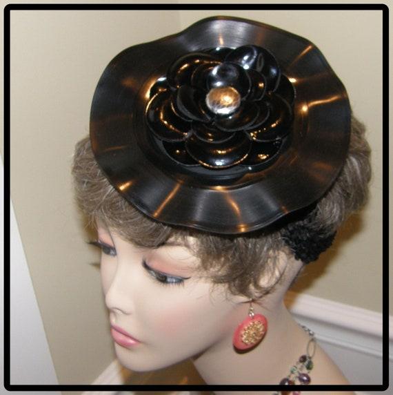 Ladies Fascinator Cocktail Hat Ooak Vinyl Record By