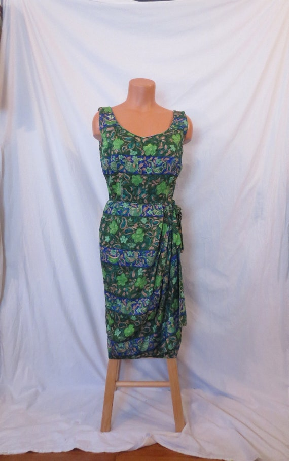 SARONG SO RIGHT tropical Hawaii wiggle dress - wrap - bird print sz 6 8