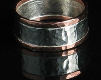 Handmade Sterling Silver and Copper Wide Band Ring - Men Unisex