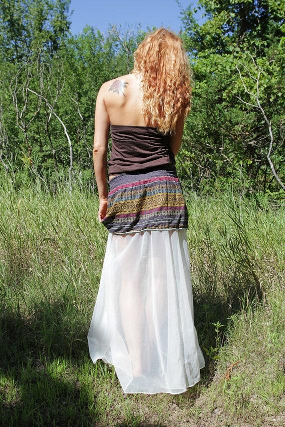 Long Maxi Sheer Hippie Fishtail Bohemian Southwestern Skirt