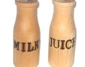 Ready to ship! Milk and Juice wooden bottles for play kitchen.