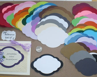 60 pc 2 size  Fancy Oval Shapes to layer Die Cut pieces made from Rainbow color cardstock paper