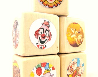 Baby and Toddler Toy. CIRCUS. Party Decoration. toy. Baby Shower. Nursery decor. Wood Blocks. Baby Blocks. RETRO. Carnival
