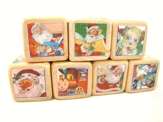 Christmas Decoration. Baby's First Christmas. Retro Santa. Wooden Blocks.  Classic.  stocking stuffer. Vintage style. Seasonal. December.
