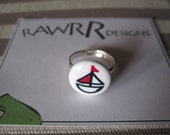 Upcycled Boat Button Adjustable Ring