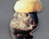 Refrigerator Magnet Gerbil Wearing A Vintage Russian Fur Hat Shrink Plastic