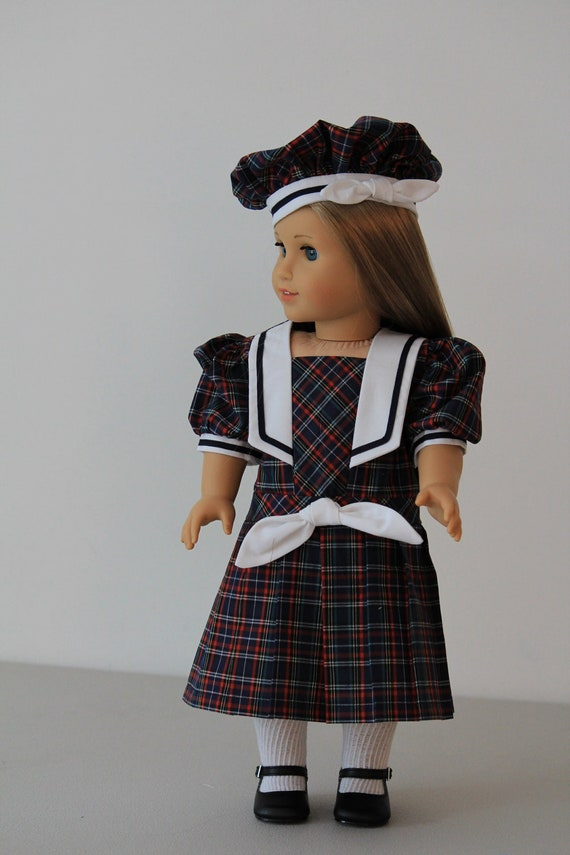 Navy plaid middy dress with beret for American Girl or other 18 inch doll