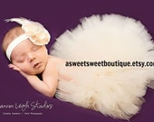 Sweet Vintage Lace Ivory Tutu Newborn Tutu Custom Made With Matching Vintage Style Flower Headband Stunning Newborn Photo Prop