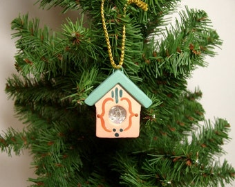 Ornament, Ceramic ornament,  miniature birdhouse ornament, Christmas ornament
