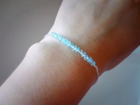 Blue Topaz Bracelet, Dainty Beaded Bar Bracelet, 925 Sterling Silver Bracelet, Light Blue Gemstone Beaded Bracelet, Silver Chain Bracelet