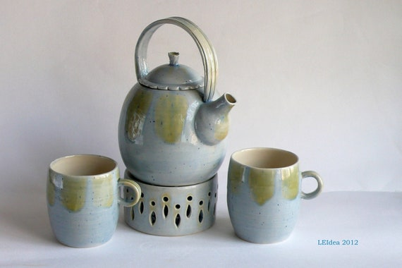 Wheel-Thrown Tea Set - Teapot, 2 cups and a candle holder in light blue glaze.