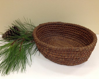 Vintage Pine Needle Basket Coiled Primitive Gullah Basket