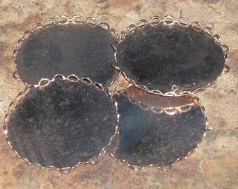 1960s PLATED SETTING stamped cabochon 25mm size (4)