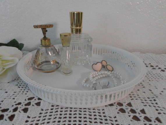White Shabby Chic Tray Ornate Beach Cottage Paris French Country Farmhouse Lovely Feminine Bedroom Decor Wedding Serving Tray Distressed