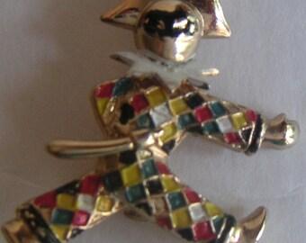 Antique Brooch,Gold Tone, Enamel, Multi Color Jester Brooch, Costume Jewelry,Trombone Catch.