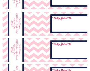 CHEVRON Pancakes & Pajamas-WRAP AROUND Address Labels - As Seen on Amy Atlas Events
