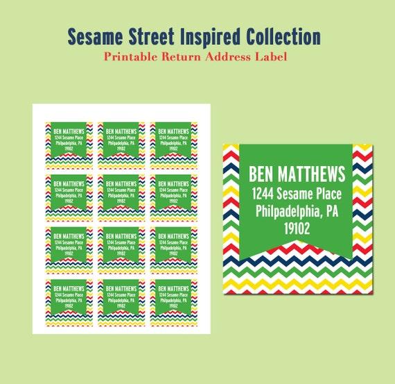 SESAME STREET Inspired Birthday - Printable Return Address Labels - Libby Lane Press
