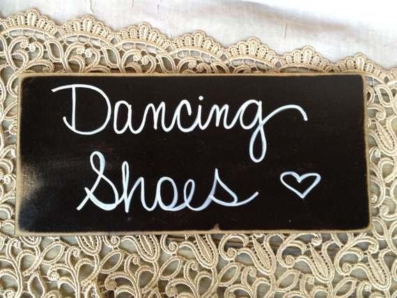 Rustic Black and White Dancing Shoes Wedding Sign