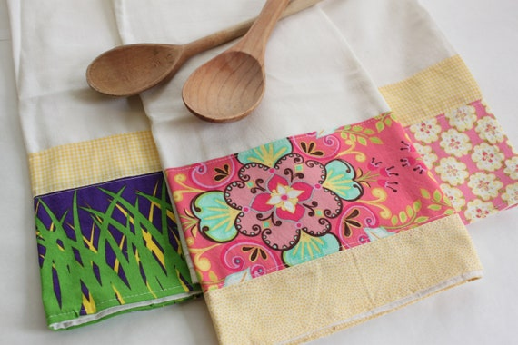 Mother's Tea Towels (flour sack, hand, kitchen towel), set of 3, pink, yellow, purple, cottage chic
