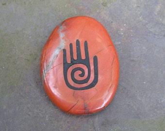 Hand Red Jasper Totem Gemstone Crystal Palm Stone