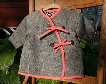Silk baby girl's jacket upcycled from men's sportcoat