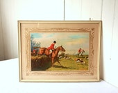 Vintage Hunting Lithograph, English Hunting, Hunting Scene, English Riding, Wall Art, Wall Decor, Framed Art, Fox Hunting