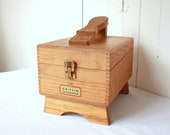 Vintage Shoe Shine Box, Griffin Shinemaster Shoe Shine Box, Oak Box, Wood Box, Photo Prop, Movie Prop