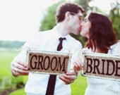 Bride and Groom photo prop and chair signs for wedding