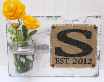 Wall hanging wedding flower holder sign with monogram wedding date burlap, cottage shabby