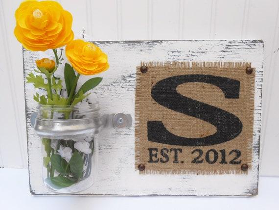 Wall hanging wedding flower holder sign with monogram wedding date burlap, cottage shabby