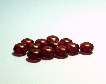 Ruby - Bronze Fire Polished Czech Glass Rondelles - 6mm - (12)