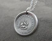 Vigilance Wins Wax Seal Charm Necklace - Rooster atop a Lion - Keep Your Eye On The Prize - French motto antique wax seal jewelry
