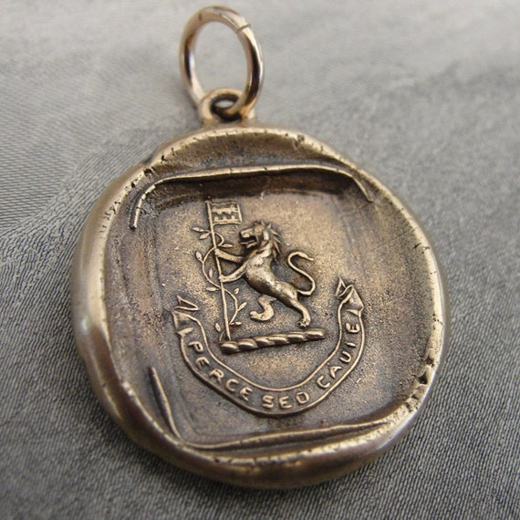 Rampant lion wax seal charm with Latin motto - Proceed With Caution - Bravery, Strength, Valour