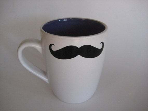 Mustache Mug purple inside