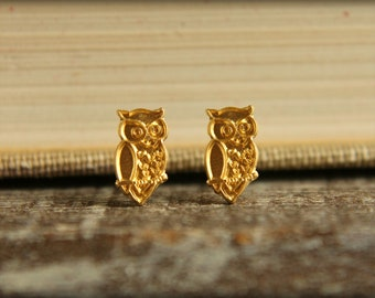 Wise Owl Earring Studs in Raw Brass, Stainless Steel Posts