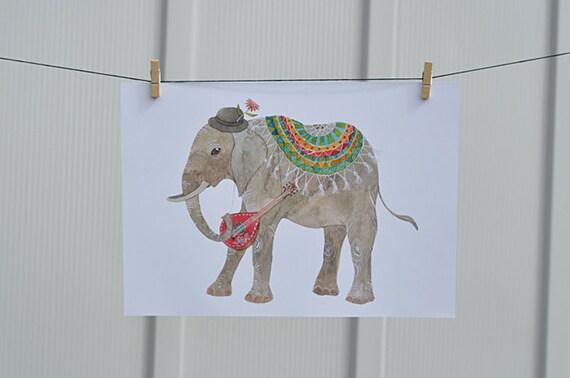 E is for elephant / art print