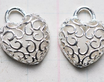 Two Filigree Heart Charms, Silver Plated, 34mm