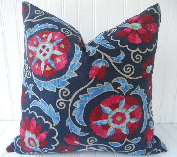 Blue Pillow Throw Pillow Decorative Pillow Navy Blue Red