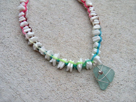 Puka shell & sea glass necklace surfer girl style colorful white shell beads beach treasures