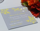 Modern Love Birds Tri Fold Wedding Programs - Grey and Yellow