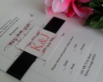 Printable Elegant Monogram Ribbon Belly Band Wedding Invitations