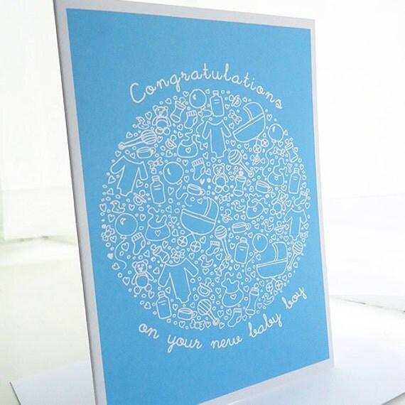 Blue Baby Boy Congratulations Doodle Card