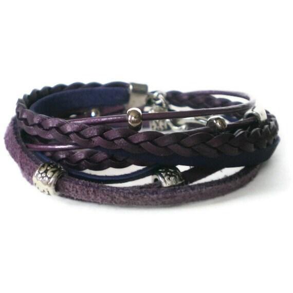 purple wrap bracelet, leather, suede, boho chic, silver, hook clasp, rocker style