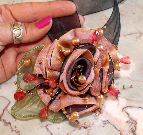 wrist corsage for wedding, prom wrist corsage, ribbon rose with beaded bling, Contemporary Corsage