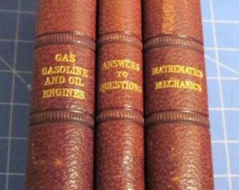 Antique 1899 set of 3 Books the Gas Engine text Engineering Excellent Condition Science Mathematics Mechanics Vintage Victorian Books