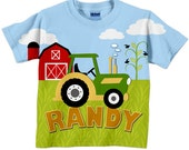 Tractor T-Shirt, Personalized Boys Green Tractor Shirt, Farm Birthday Shirt